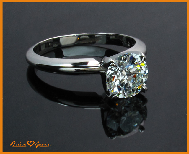 1.32ct Brian Gavin Signature Hearts and Arrows diamond set in a 4 prong platinum tiffany style solitaire