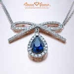 Custom Colored Stone and Diamond Halo Pendant by Brian Gavin…