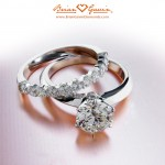 Louis' Classic Tiffany Style Knife Edge Solitaire and Dream Half Eternity Band