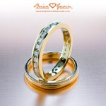 Jill's Channel Set Band and Comfort Fit Milgrain Band