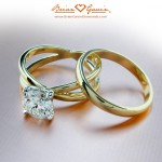 Julie's Crossed Solitaire with her Original Wedding Band