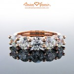 Brian Gavin's Classic 5 Stone U-Prong Diamond Band in Yellow Gold and Rose Gold…
