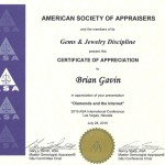 American Society Of Appraisers Certificate of Appreciation