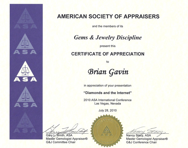 American society of appraisers certificate of appreciation for International conference certificate templates