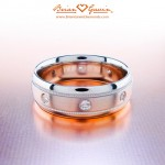 Seth's 7mm Domed Comfort Fit Band with Satin Center, Milgrain and 8 x .03 ct