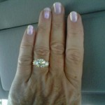 Phyllis' Hand Picture of her 3 Stone Anniversary Ring
