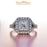 Brian Gavin Sets Re-cut Princess Cut Diamond into a Customized Split Shank Diamond Ring…