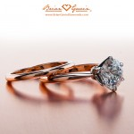 Eva's Rose Gold Tapered Tiffany and Matching Band