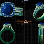 CAD Rendering of the Custom Engagement Ring and Matching Band