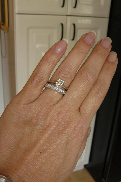 Ronda Wearing Her Eternal Grace Solitaire And Diamond Wedding Band