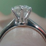 Close up Side View of the Brian Gavin Tapered Tiffany Style Half Round Solitaire