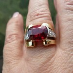 Brian Gavin Creates Exquisite Two Tone Platinum, Gold and Diamond Setting for Customer's Red Spinel…
