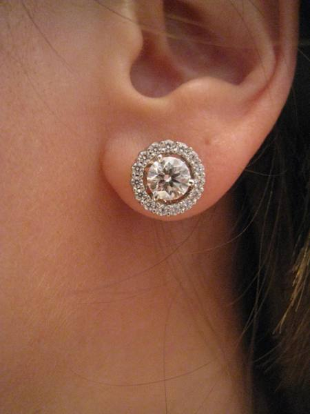 ear shot of the diamond stud and new brian gavin diamond