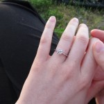 Just Engaged with a Brian Gavin Tapered Tiffany Style Half Round Engagement Ring