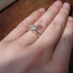 Three Quarter View of Brittani's New Brian Gavin Tapered Tifffany Style Engagement Ring
