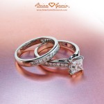 Brian Gavin Designer Princess Cut Diamond Wedding Set