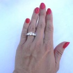 Another Hand Picture of Alani's Brian Gavin Graduated 5 Stone Trellis Ring