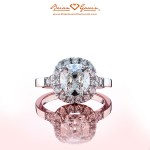 Brian Gavin Custom Cushion Cut Diamond Halo Ring