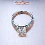"""Brian Gavin's Erika Fishtail Pave Diamond Solitaire with """"Surprise"""" Stones"""