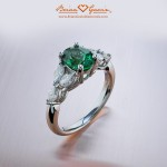 Brian Gavin Custom Tsavorite and Marquise Diamond Ring