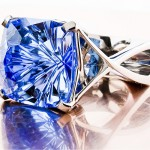 A Close Up View of Brian Gavin's Designer Platinum and Topaz Ring