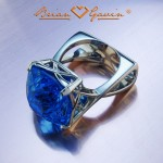 Brian Gavin Designer Platinum and Topaz Right Hand Ring