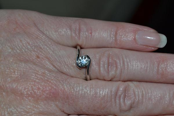 Jane's Hand Picture of her Brian Gavin Engagement Ring