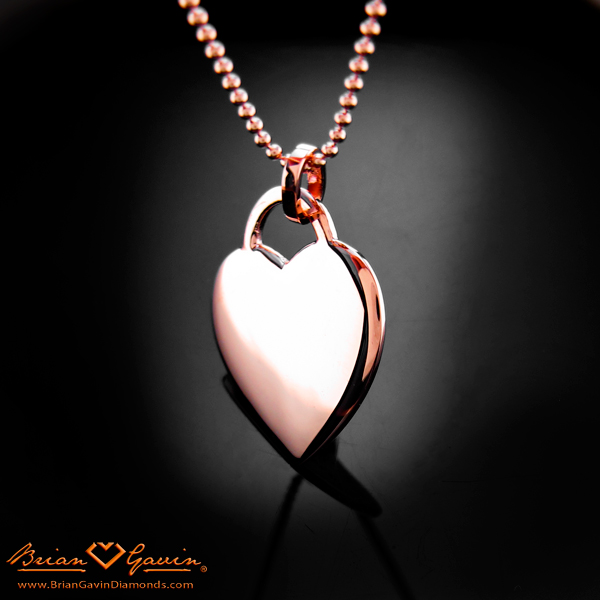 Back View of Brian Gavin's Custom Made Rose Gold Heart Shaped Diamond Pendant