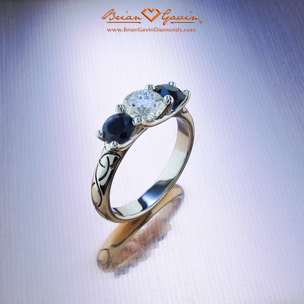 Brian Gavin Platinum 3 Stone Diamond and Sapphire Engagement Ring and Matching Band with Celtic Knot Engraving