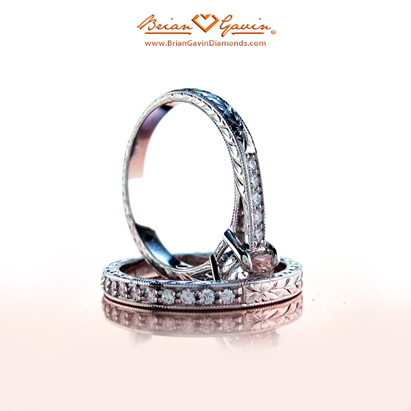Brian Gavin Hand Engraved Cathedral Engagement Ring and Matching Diamond Band