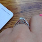 Lauren's Hand Shot showing her New Brian Gavin Diamond Engagement Ring