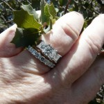 A Top Hand View of Carolyn's New Brian Gavin 3 Stone Ring with her Band