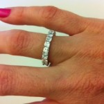 Inna's Hand Shot of her Brian Gavin Full Eternity U-Prong Asscher Cut Diamond Band