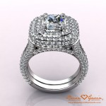 CAD Rendering of Brian Gavin Double Halo Cushion Cut Diamond Engagement Ring