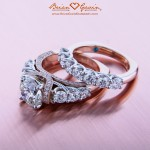 Brian Gavin Custom Rose Gold and Platinum Ring and Matching Diamond Band
