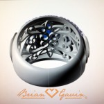 Initial Inside View of CAD Rendering of 5 Stone Signature Cushion Cut Custom Ring by Brian Gavin
