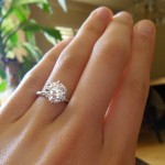 Hand Shot of Sarah's Brian Gavin Diamond Engagement Ring
