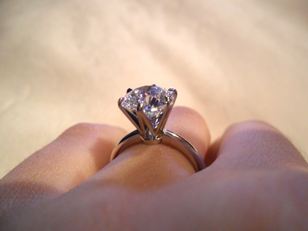 Side View of Sarah's Brian Gavin Classic Tiffany Half Round Solitaire