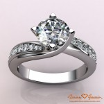 Introducing the Jennifer Twist Style Diamond Pave Engagement Solitaire and Matching Band by Brian Gavin…