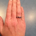 Steph's Hand Picture of her Brian Gavin Diamond and Sapphire Band