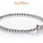 Three Prong Tennis Bracelet in 14K White Gold by Brian Gavin