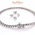 Three Prong Tennis Bracelet and Classic Martini Earrings by Brian Gavin