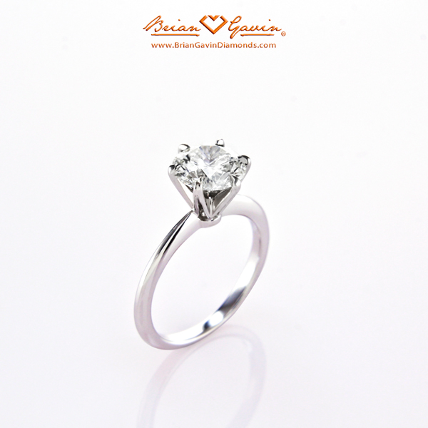 The Tapered Tiffany Style Half Round Diamond Engagement Ring by