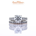 Brian Gavin Custom Platinum Diamond Engagement Ring and Wedding Band
