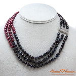 Showing the clasp on Danielle's 3 Row Pearl Necklace from Brian Gavin