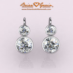Front View of CAD Rendering of Custom Platinum Bezel Set Lever Back Earrings by Brian Gavin