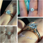 Kayla's Collage of her Engagement Ring with her new Brian Gavin Signature Blue Diamond
