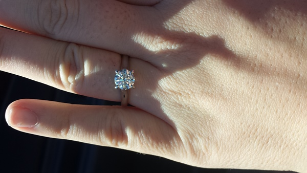 Kayla's Engagement Ring with her new Brian Gavin Signature Blue Diamond