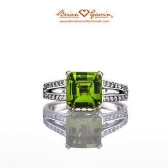 Princess Peridot Split Shank Ring