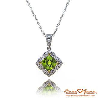 Cushion Peridot Halo Necklace
